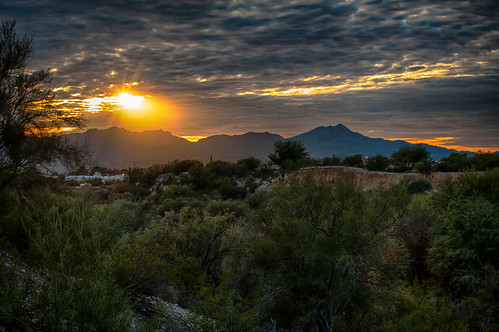 sunset arizona mountains unitedstates tucson hdr