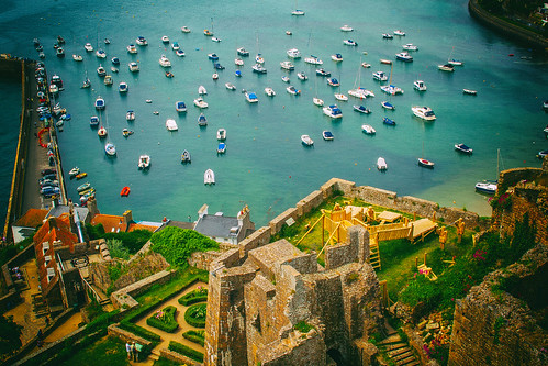 jersey gorey castle bay harbour boats view lookingdown canon eos channel islands sea water