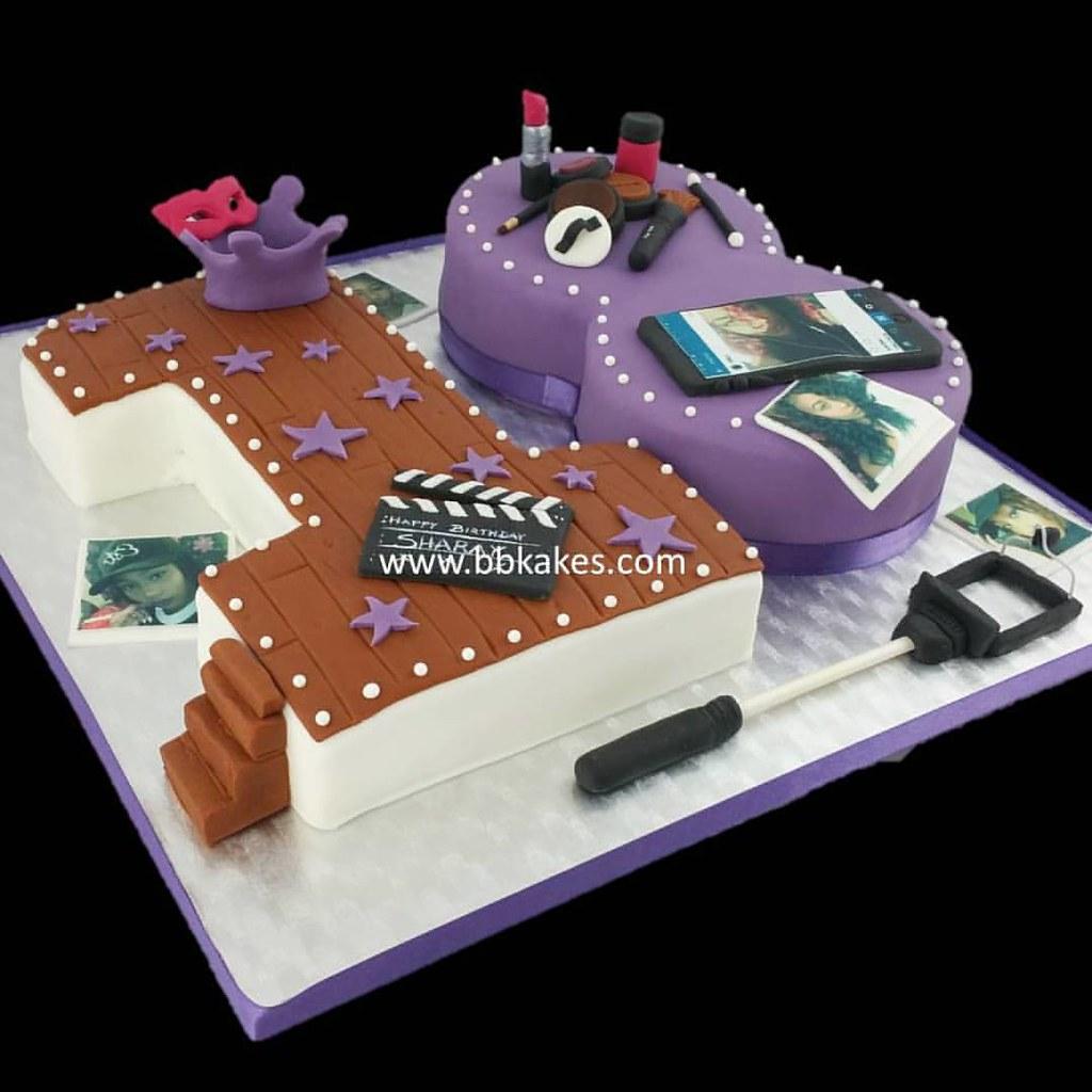 Wondrous Number 18 Selfie Birthday Cake By Bbkakes Bbkakes Number Flickr Funny Birthday Cards Online Inifodamsfinfo