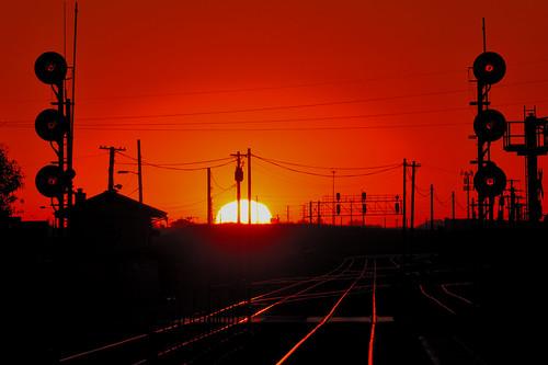 sunrise sun morning signals rail