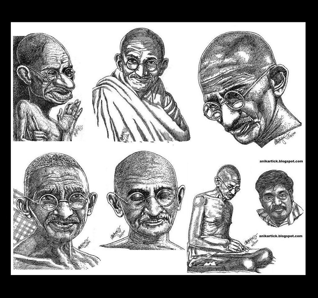 Gandhi mahatma gandhi father of nation portrait sket