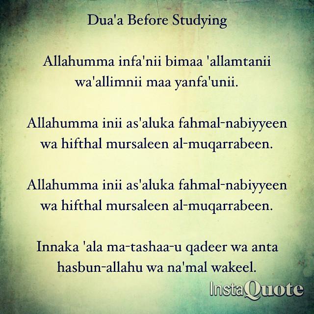 Dua'a Before Studying Allahumma infa'nii bimaa 'allamtani