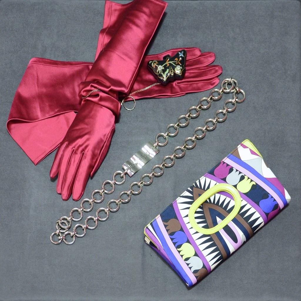 Pucci Clutch Bag - Yves Saint Laurent Belt - Satin Gloves
