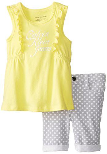 Calvin Klein Little Girls' Top with Bermuda Shorts, Yellow, 6X