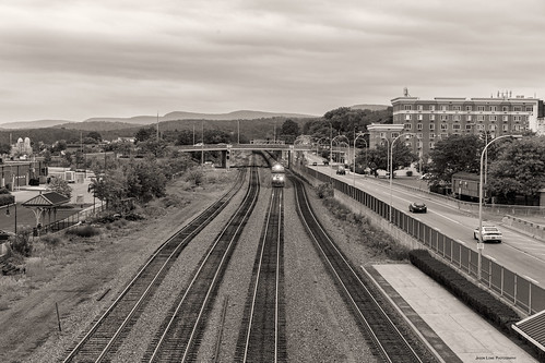 train trains tracks transportation track railroad railfan railway ns norfolksouthern conrail altoona prr pennsy pennsylvania station overhead monochrome blackandwhite