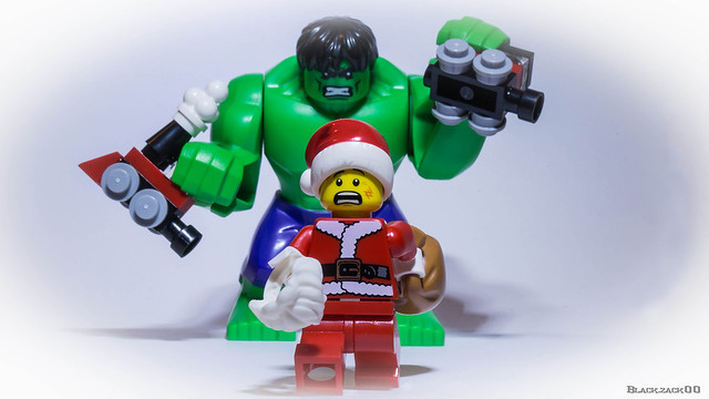 Hulk not happy !!! this is not the real Santa Claus!