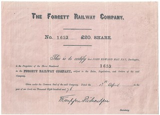 Forcett Railway Share Certificate 1876 | by ian.dinmore