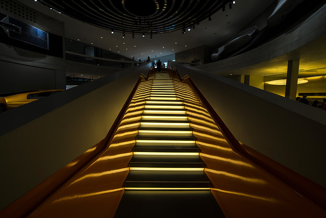 Output stairs inside Mercedes Museum - Stuttgart - Germany