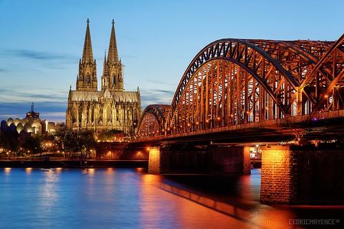 germany deutschland nightshot dom cologne pont bluehour allemagne koln hdr highdynamicrange kolner rhin heurebleue vuedenuit rhénaniedunordwestphalie rhineruhr oloneo