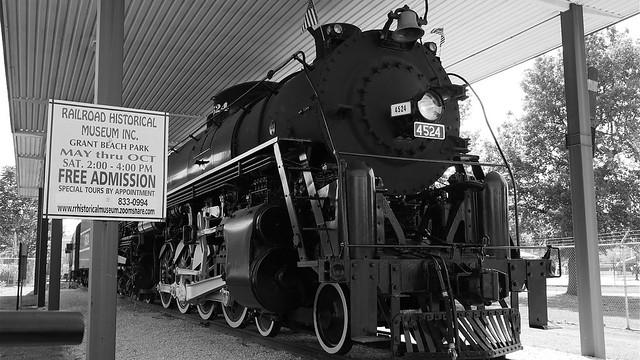 Frisco 4524 Steam Locomotive Black and White
