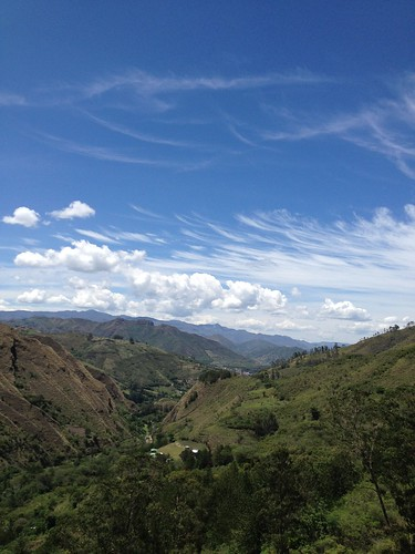blue sky mountains clouds view walk