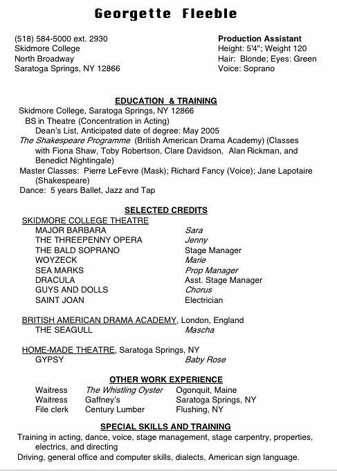 High School Acting Resume Template | allresumetemplates net
