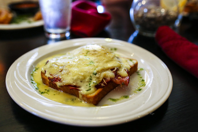 Croque Madame - Open face ham sandwich with melted Gruyere and Smoked Gouda cheeses served with fried egg and hollandaise sauce - The Dancing Fig