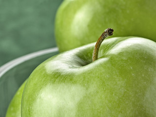 Vibrant colored green apple in close-up
