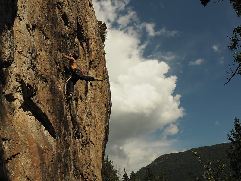Trying hard at Gietroz. Climber: Andrew Wexler