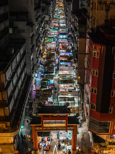 asia canon 50mmf18markii market top view above night light street gate temple china stich