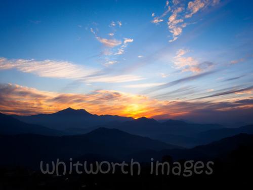 blue nepal sunset sky orange sun mountains nature beauty yellow clouds landscape golden evening asia view hills himalaya himalayas gorkha indiansubcontinent tanahun