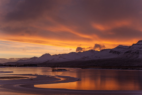 iceland ísland faskrudsfjordur fáskrúðsfjörður morning morgunn sunrise sólarupprás reflection speglun pond tjörn sky himinn clouds ský mountains fjöll sandfell winter vetur jónínaguðrúnóskarsdóttir 25faves 50faves 500views 1000views