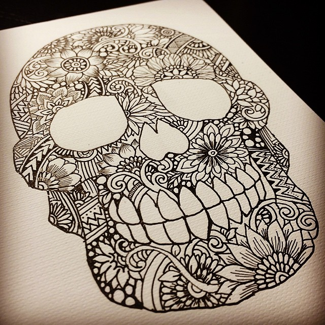 Zentangle Skull  I rarely make evil motif doodle but this gonna be a nice try. I made t shirt and iphone case with this. Making movie as well of course. I'm thinking to put color on it. Probably it needs to be brighter :)