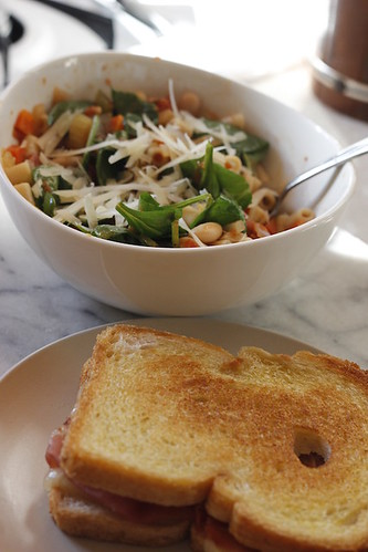 Italian soup and grilled cheese | by nycblondieandbrownie