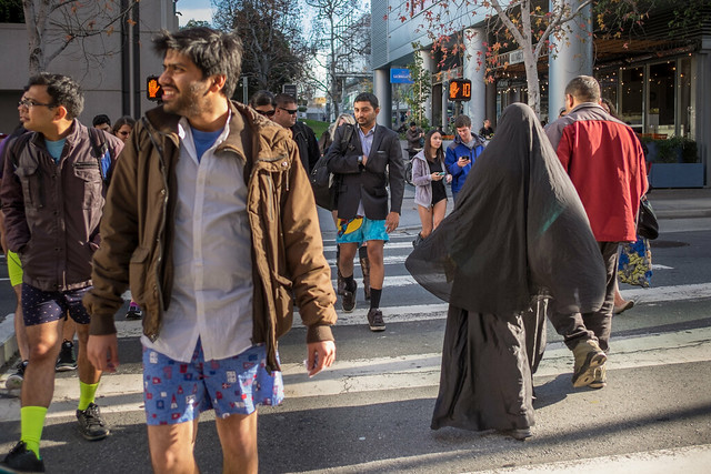 No Pants Subway Ride 2015: feezing drumbeat