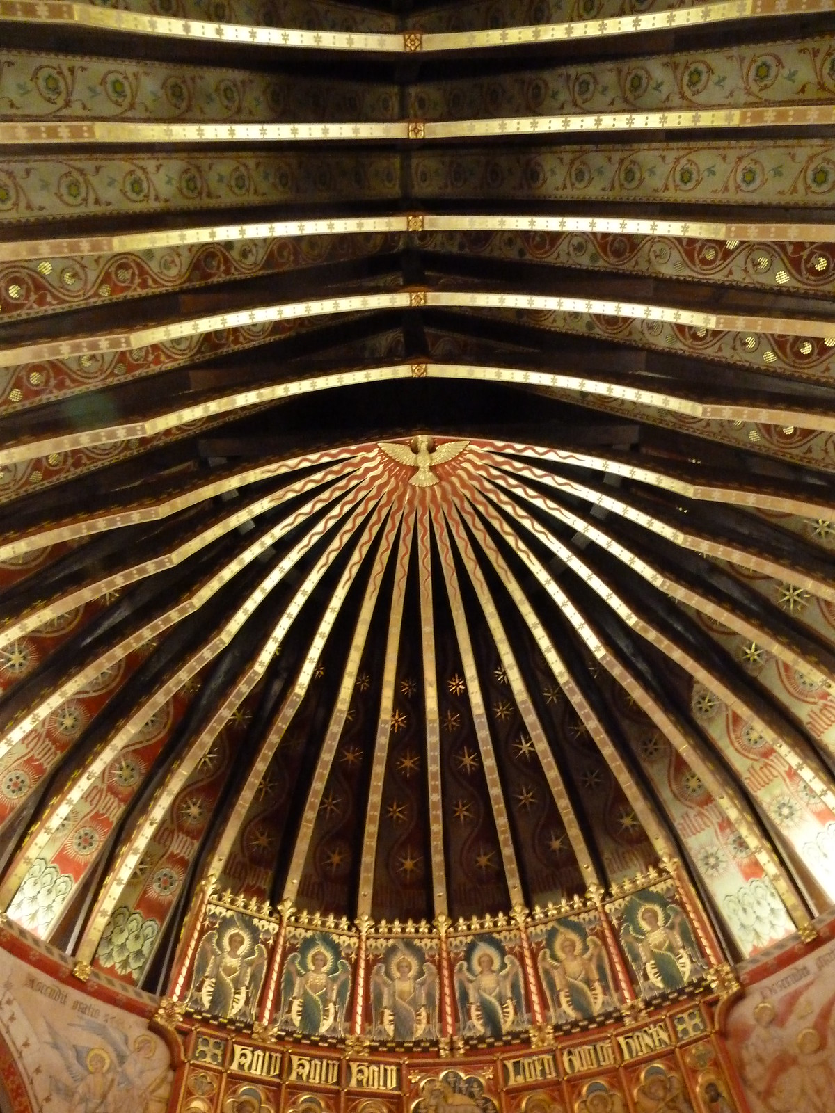Milford to Godalming Decorated timber roof, St Peters Church, Hascombe.