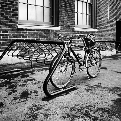 A lonely time at the bike rack this last day before winter break.