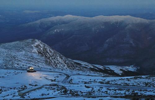 auto road new blue winter sunset snow tractor cat evening washington december mt nelson nh hampshire dec mount hour carter bombardier 2014 moriah crag