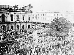 Crowds Outside Ballarat Town Hall During the Centenary Celebrations (1938)