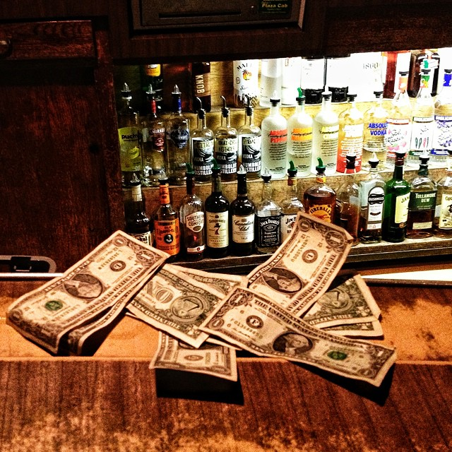 Don't forget  to tip  your bartender $