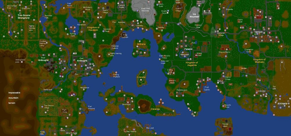 Old School 2007 Runescape World Map Wall Poster | gekoo.co/b ...