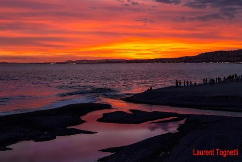 sunset sea mer seascape beach water clouds nice eau cloudy couleurs nuages plage crepuscule coucherdesoleil fleuve promenadedesanglais mediterranée embouchure paillon canoneos6