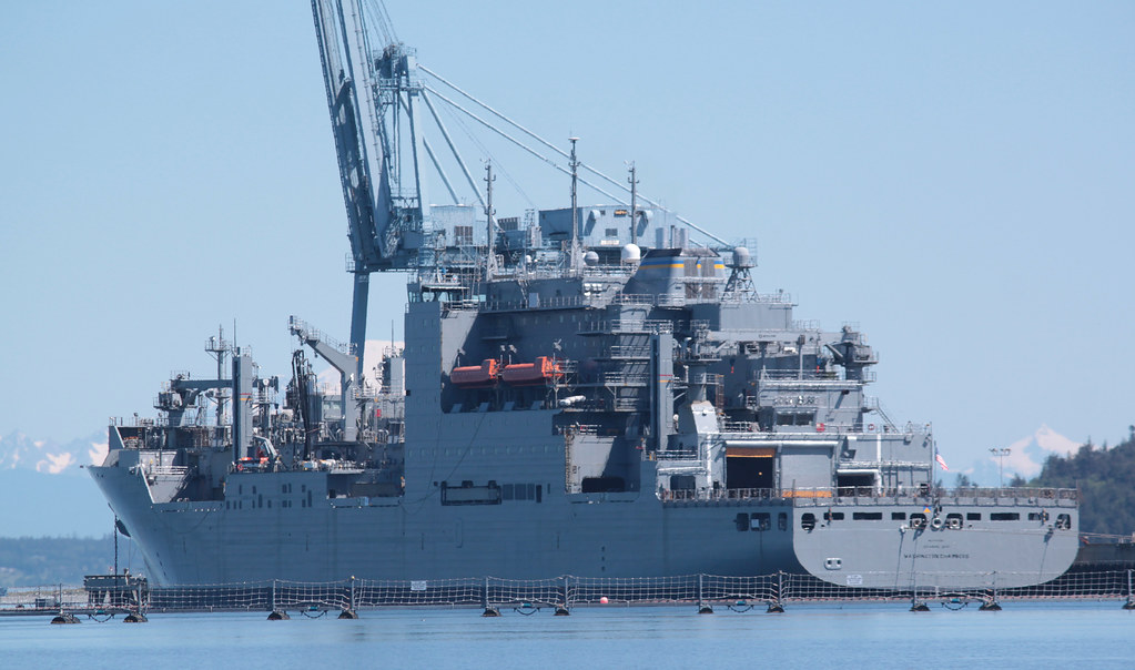 IMG_7461CE1 - Port Townsend Bay WA - off Walan Point, Indian Island Naval Weapons Station - USNS WASHINGTON CHAMBERS (T-AKE-11)