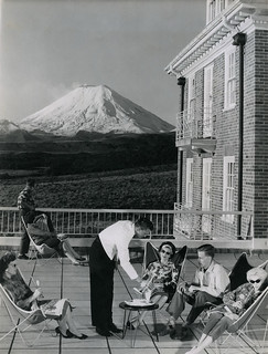 Chateau Tongariro, Mt Ngauruhoe in background, 1960