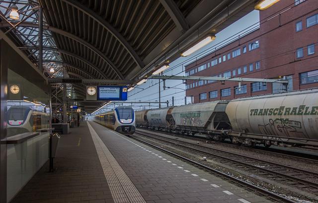 Amersfoort station freight train and Sprinter