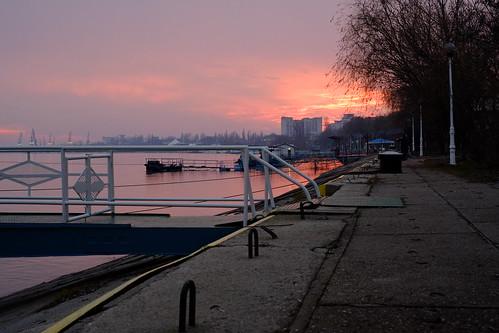 winter sunset port river landscape romania danube braila