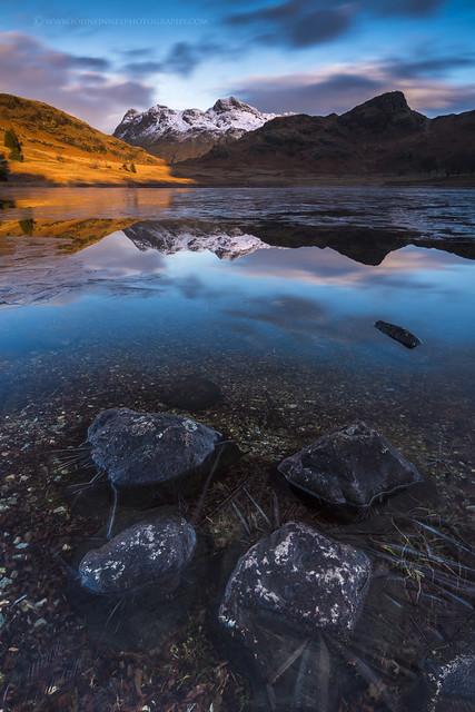 Blea tarn sunrise with Ice
