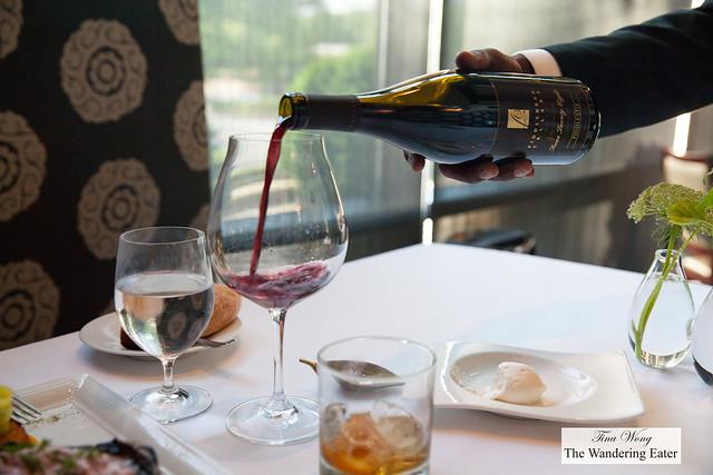 Pouring 2011 Pinot Noir, Fiddlehead Cellars, 728, Fiddlestix Vineyard, Santa Rita Hills, California