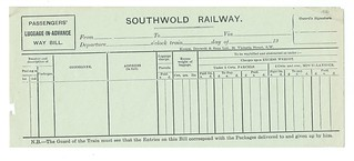 Southwold Railway blank PLA waybill undated | by ian.dinmore