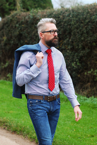 Menswear: Jacket, Skinny Jeans, Shirt and Tie | by silverlondoner
