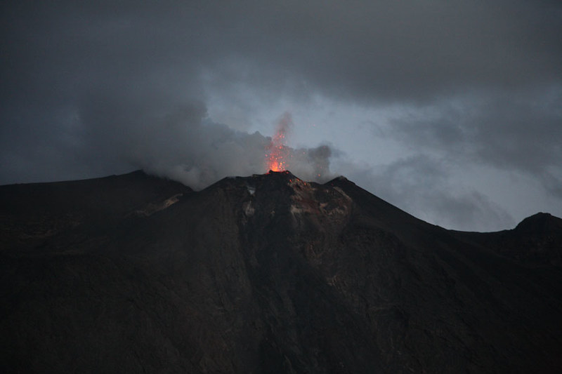 Mount Stromboli erupting at dawn