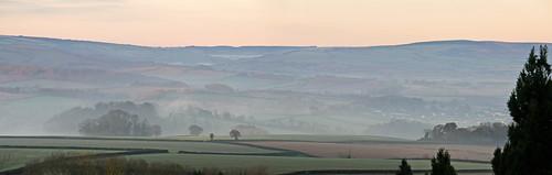 autumn panorama mist somerset brendonhills westquantoxhead