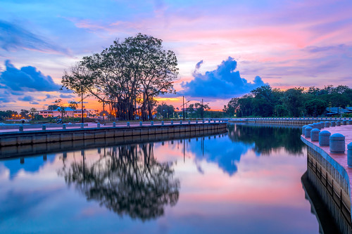 sunset sky reflection clouds river landscape twilight colours melaka waterscape sungaimelaka