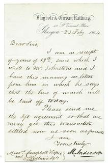 Maybole & Girvan Railway letterhead 1864 | by ian.dinmore