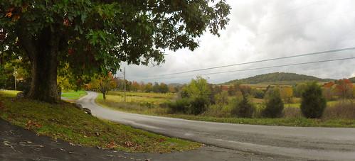 road autumn panorama mountains color fall beautiful clouds landscape virginia us rainyday view unitedstates farm fallfoliage va autumncolor windingroad 2014 byway rockbridgecounty