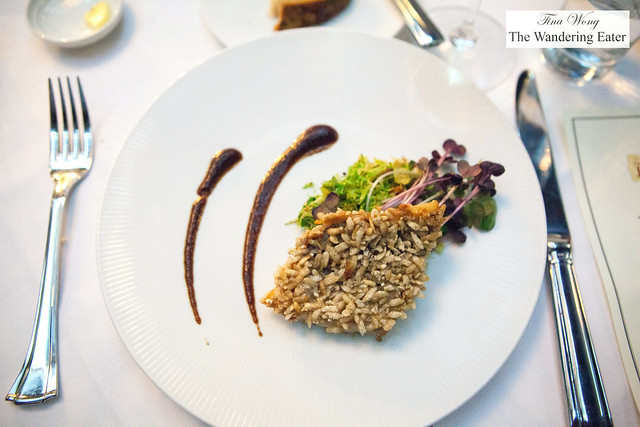 Rice flake crusted North Atlantic Sea Bream, brussels sprouts, tamarind glaze