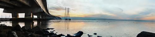 california bridge winter sunset sky panorama color reflection bay nikon january large panoramic fremont powerlines shore bayarea eastbay stitched d800 dumbartonbridge 2015