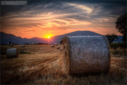 sunset summer sky cloud sun nature field wales clouds canon landscape ian photography high dynamic outdoor farm farming straw fields hay bales middletown range garfield hdr cirrus welshpool photomatix a458 cardeston 5d3