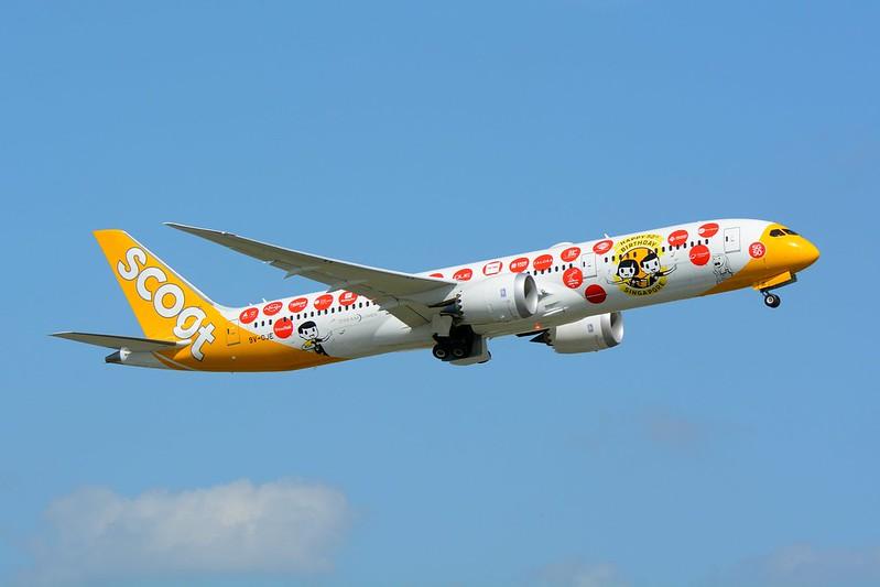 """Scoot, Boeing 787-9 9V-OJE """"Happy 50th Birthday Singapore!!"""" NRT"""