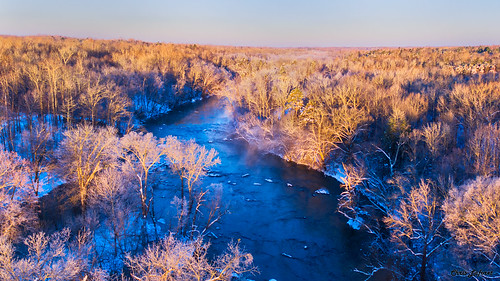 hawriver snow aerialview sunrise dawn